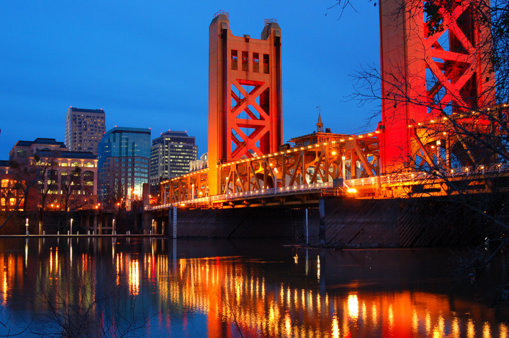 The Tower Bridge Crosses the Merced River in the heart of Downtown Sacramento, California